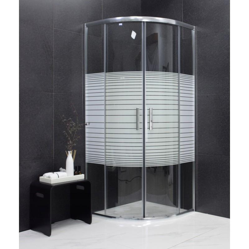 SPRCHOVÉ KOUTY - MEXEN RIO sprchový kout čtvrtkruh 80x80x190 cm 5mm chrom-pásy 863-080-080-01-20