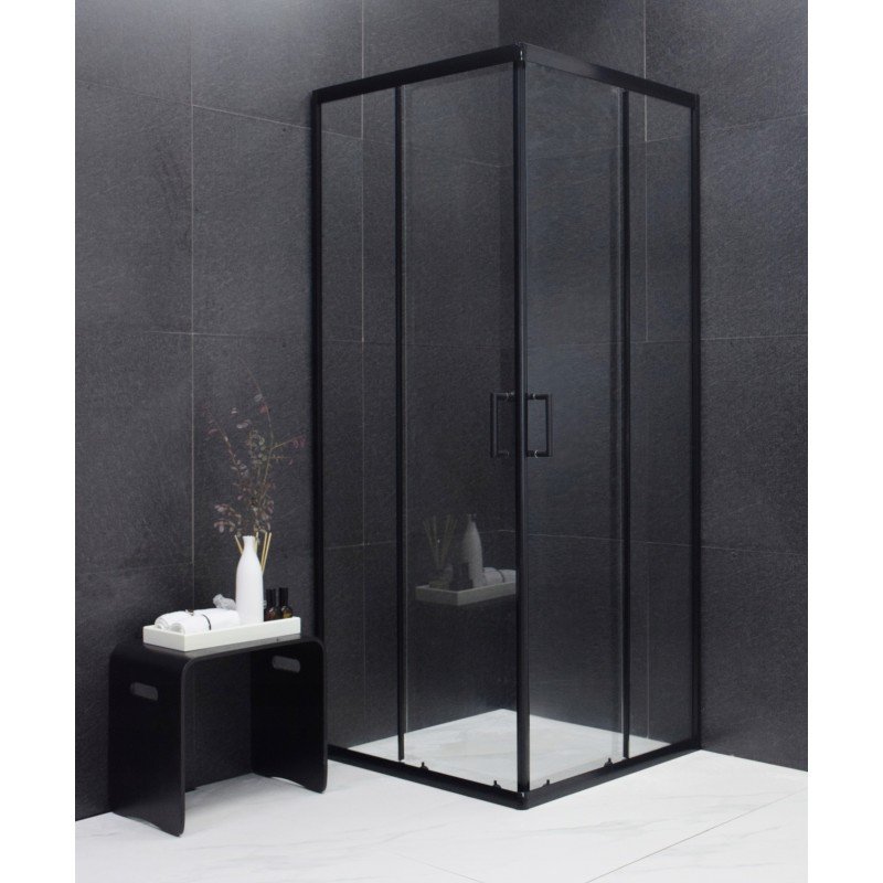 SPRCHOVÉ KOUTY - MEXEN RIO sprchový kout čtverec 80x80x190 cm 5mm černá-čiré 860-080-080-70-00