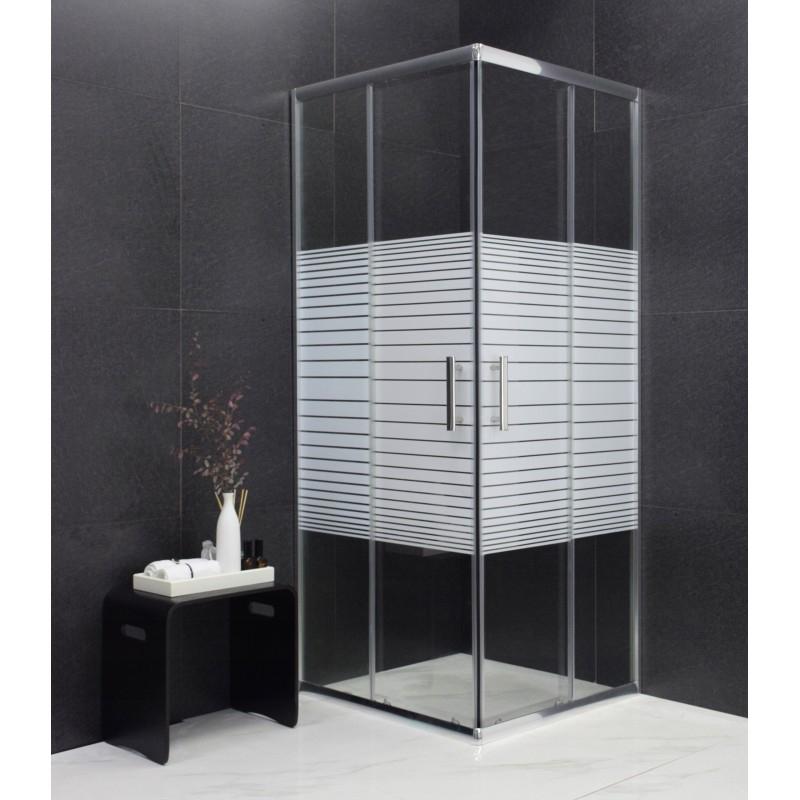 SPRCHOVÉ KOUTY - MEXEN RIO sprchový kout čtverec 70x70x190 cm 5mm chrom-pásy 860-070-070-01-20