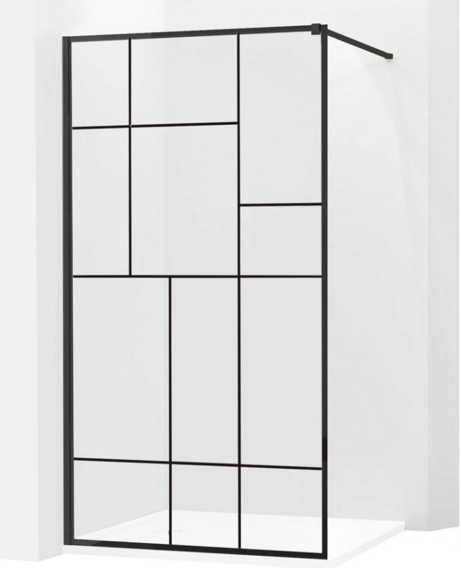 SPRCHOVÉ KOUTY - MEXEN KIOTO sprchová stěna walk-in 100x200 cm 8mm černý vzor - 2, 800-100-000-00-78