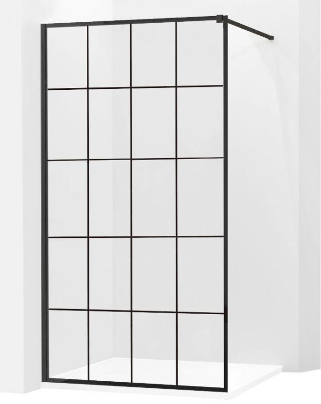 SPRCHOVÉ KOUTY - MEXEN KIOTO sprchová stěna walk-in 100x200 cm 8mm černý vzor - 1, 800-100-000-00-77