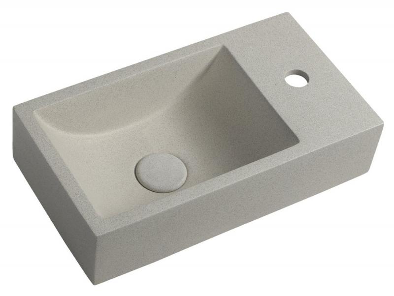 SANITÁRNÍ KERAMIKA - CREST R AR413 betonové umyvadlo včetně výpusti, 40x22 cm, bílý pískovec