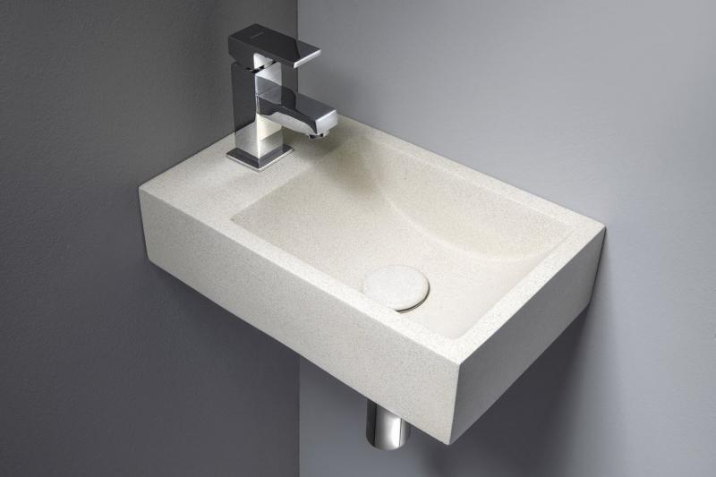 SANITÁRNÍ KERAMIKA - CREST L AR410  betonové umyvadlo včetně výpusti, 40x22 cm, bílý pískovec